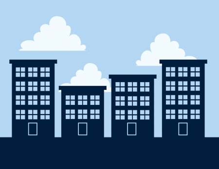 Apartment building silhouettes against blue sky  Illustration