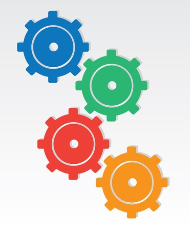 Colored gears interlocking one another  Illustration