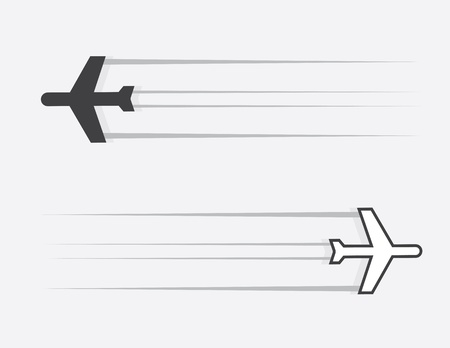 gliding: Isolated airplane silhouette gliding through the air