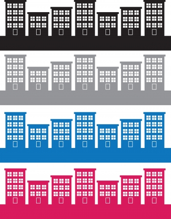 Apartment buildings silhouettes in different colors