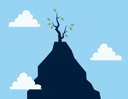 Single tree on tall cliff  向量圖像