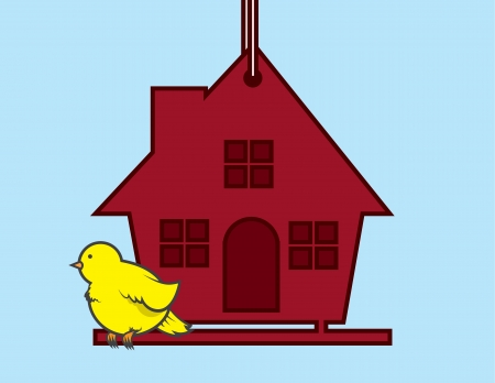 Bird sitting on a red birdhouse  Stock Vector - 20335404