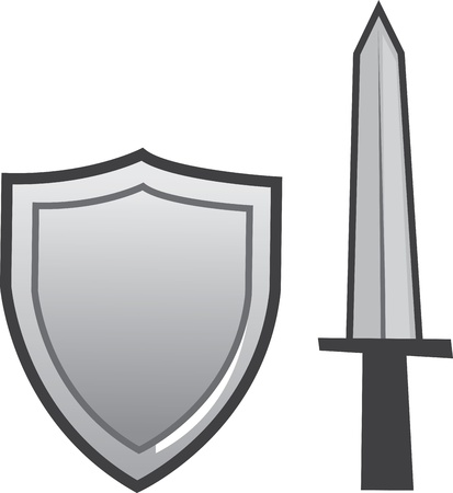 Gray sword and shield isolated