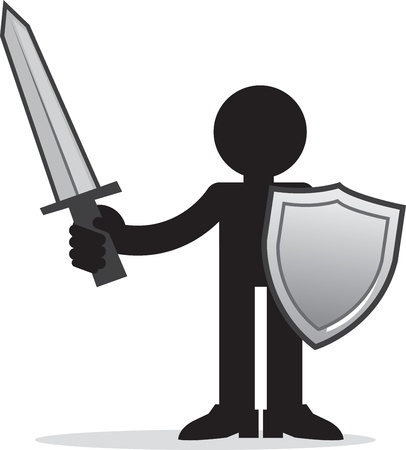 Silhouette figure holding sword and shield  Illustration