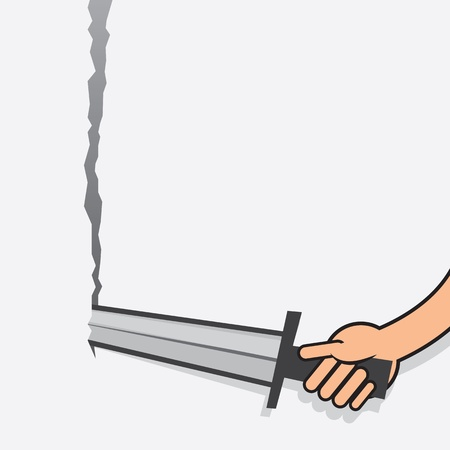Arm with sword tearing through paper
