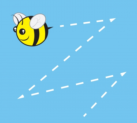 buzz: Chubby bee character flying with buzz trail