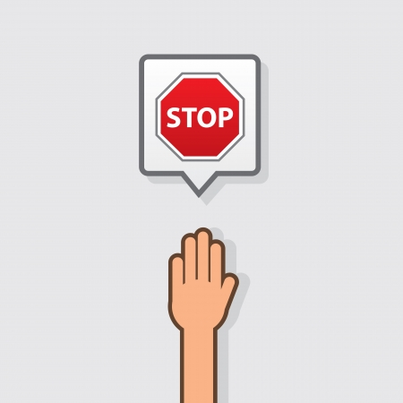 hand stop: Hand with stop sign icon