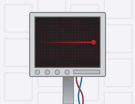 heart monitor: EKG screen with red flatline