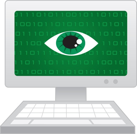 Isolated computer with large eye spying  Vector
