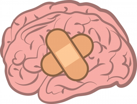 lobes: Isolated brain with bandage attached  Illustration