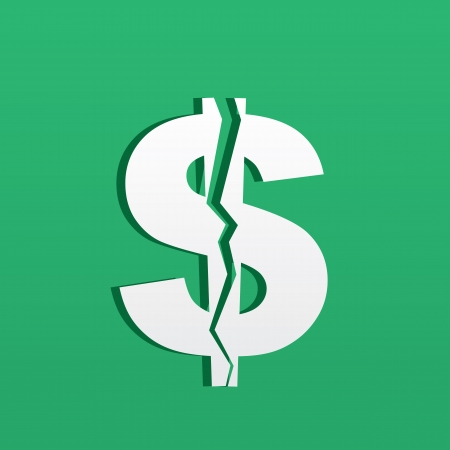 Dollar symbol cracked in half