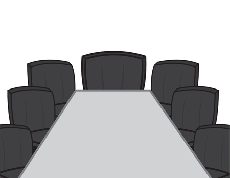 Empty desk in conference room with chairs