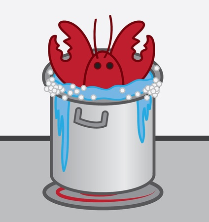 Lobster cooked in boiling pot of water