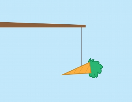 Carrot hanging from a string on a stick  Illustration