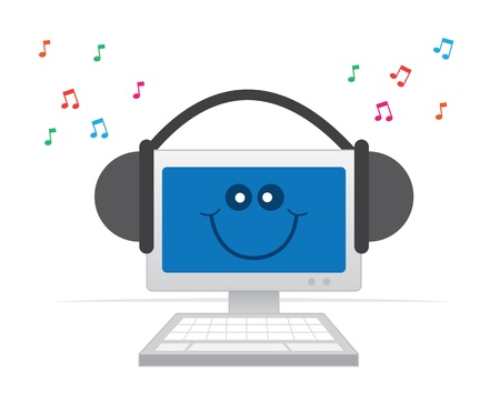 Happy computer listening to music with headphones   Illustration