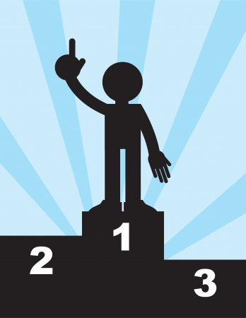 Figure standing on first place pedestal