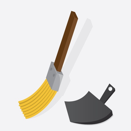 dustpan: Small broom sweeping with dustpan