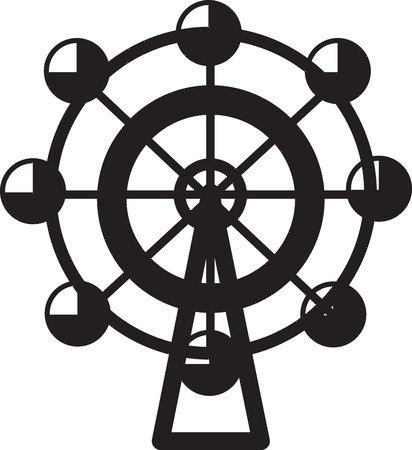 Small isolated ferris wheel silhouette