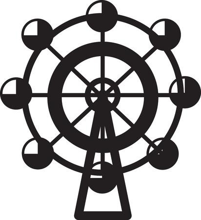 ferris: Small isolated ferris wheel silhouette