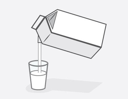 붓는 것: 우유 카톤 우유의 유리에 쏟아져 일러스트