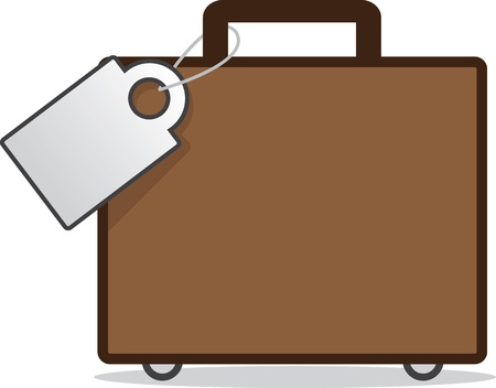 luggage tag: Isolated luggage with blank tag