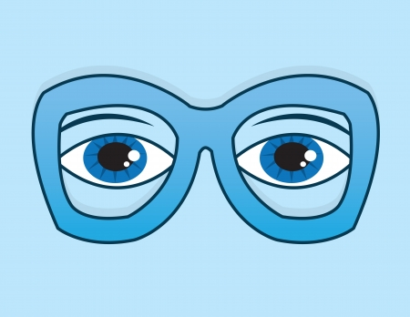 geeky: Blue framed glasses with eyes