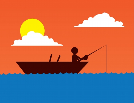 caught: Fishing boat silhouette on body of water  Illustration