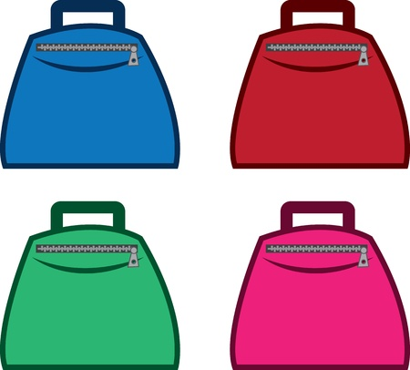 Isolated bags with zipper in different colors  Illustration
