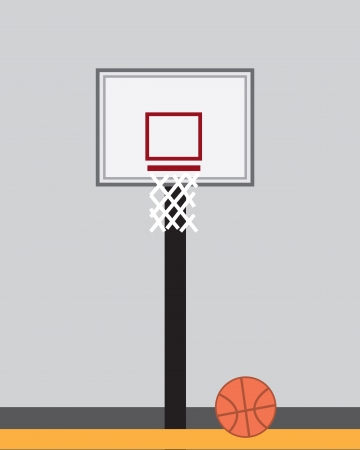indoor court: Basketball hoop inside indoor court  Illustration