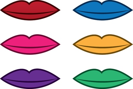 Isolated lips in various colors
