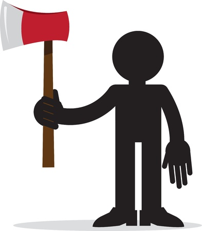 murderer: Figure silhouette holding red ax