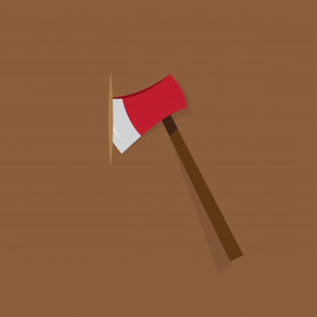 Red ax stuck in wood background   Vector