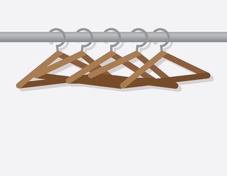 hangers: Wooden hangers on metal rod