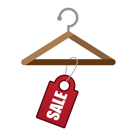 hangers: Wooden hanger with red sale tag