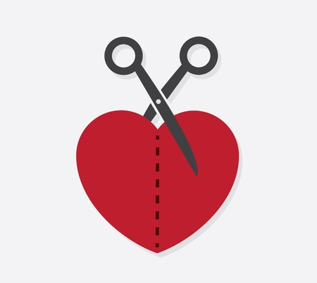 parting: Heart cut in half with scissors