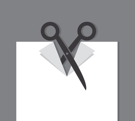 Scissors cutting through a piece of paper