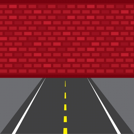 unfortunate: Road that leads to dead end brick wall  Illustration