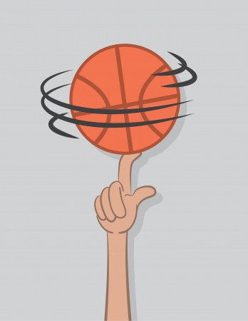 Basketball spinning on top of finger