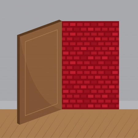 unfortunate: Open door that leads to brick wall  Illustration