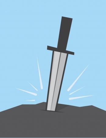 大きな岩で立ち往生の剣