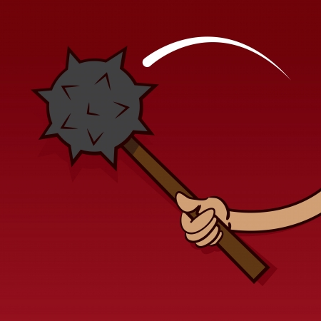 reject: Hand swinging spiked ball with red background  Illustration