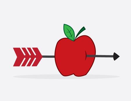 Arrow shot through red apple