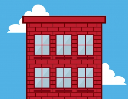 windowsill: Tall red brick building in the sky with windows