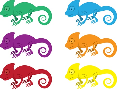 isolated: Isolated chameleons in various colors  Illustration