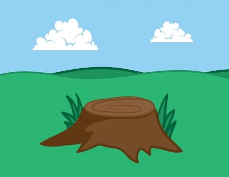 grassy field: Large tree stump in grassy field