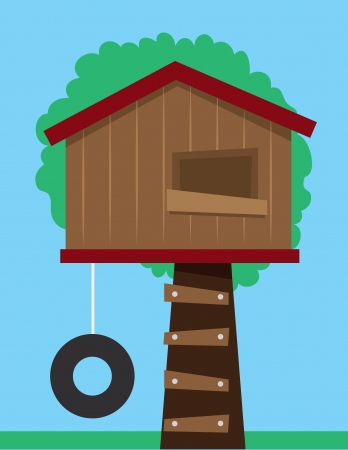 Tree house with tire swing Banco de Imagens - 21050278