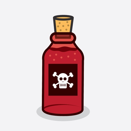 Red poison bottle with skull symbol