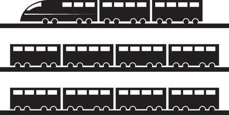 Moderne trein op sporen silhouet