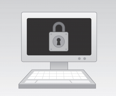Computer with lock image on screen  Stock Vector - 21220108