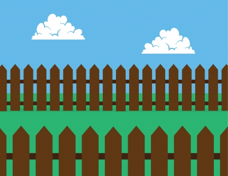 Brown wooden picket fence in backyard  Vector